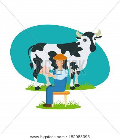 The farmer in his clothes for work on the au pair, sites near the cow and is engaged in milking. Modern vector illustration isolated in cartoon style.