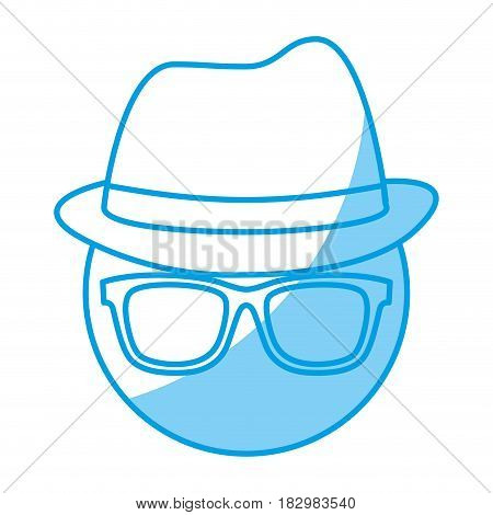 man with glasses and hat icon over white background. vector illustration