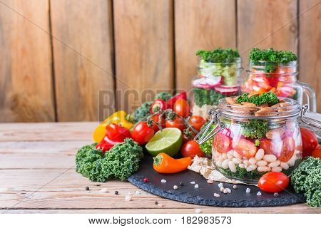 Healthy Vegan Salad In A Mason Jar With Beans