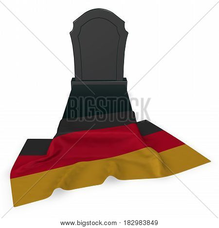 gravestone and flag of germany - 3d rendering