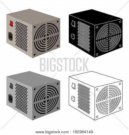 Power supply unit icon in cartoon design isolated on white background. Personal computer accessories symbol stock vector illustration.