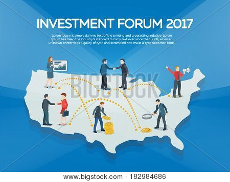 Business startup work moments flat banner. People on the USA map 3d. New ideas search for investor increased profits. Business situation. Businessman and businesswoman enter into a contract