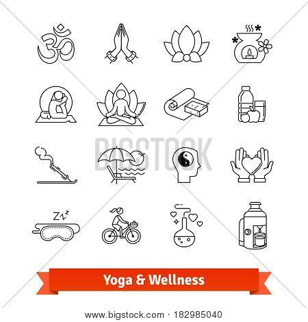 Yoga workout and wellness program. Thin line art icons set. Recreation center, ayurvedic spa therapies, health dieting, meditation practice retreat. Linear style symbols isolated on white.