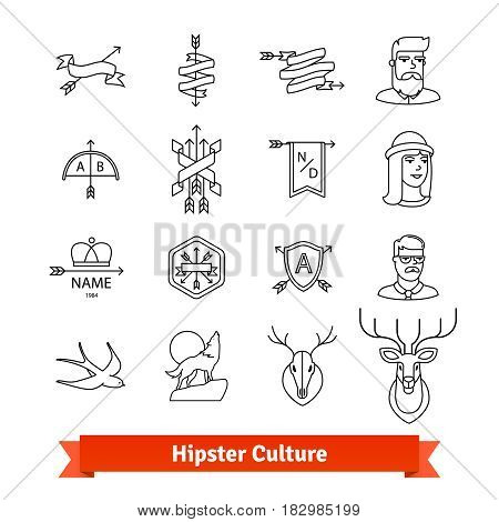 Hipster subculture. Thin line art icons set. Male, female avatars, artistic tattoo, design elements, company logotypes. Linear style symbols isolated on white.