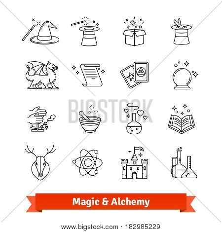 Magic and Alchemy thin line art icons set. Fairy tale, fantasy, fiction books. Linear style symbols isolated on white.