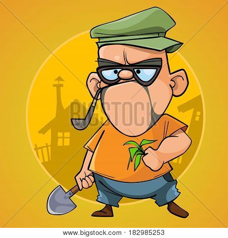 cartoon puzzled man cottager with a shovel and a sapling