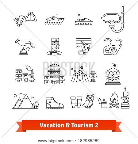 Tourism and vacation recovery. Thin line art icons set. Sea sport, hiking, recreation activities. Linear style symbols isolated on white.