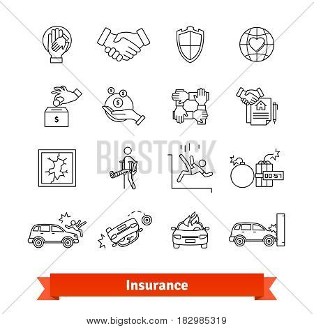 Accidents and Insurance. Thin line art icons set. Life, money, property protection. Linear style symbols isolated on white.