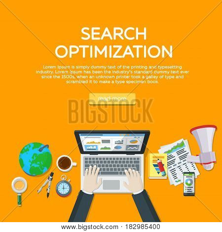Workplace expert in SEO. Web analytics elements and marketing. Website development search engine optimization. Manager top view workplaces flat vector illustration. Template for advertising posters.