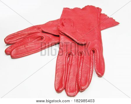 red women gloves as clothing accessory fashion