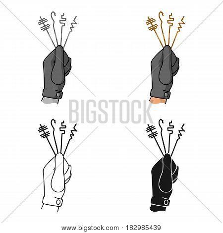 Lockpicks icon in cartoon style isolated on white background. Crime symbol vector illustration.