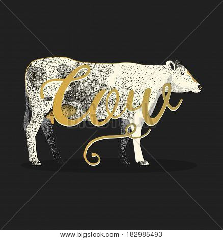 Vintage vector engraving cow illustration for label, poster, logotype. Isolated on black background. Poster beef in vintage drawing style.