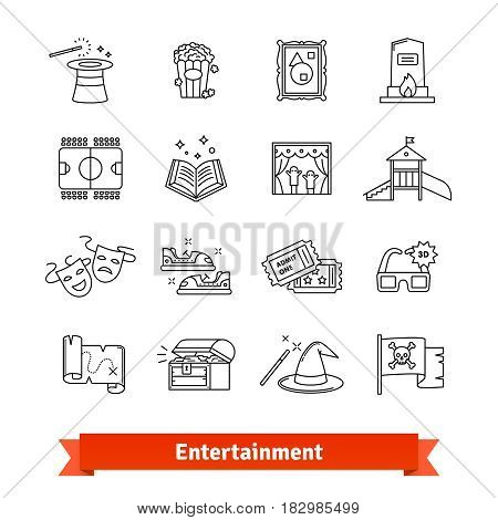 Entertainment industry thin line art icons set. Cinema, theme park, galery, amusement events. Linear style symbols isolated on white.