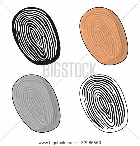 Fingerprint icon in cartoon style isolated on white background. Crime symbol vector illustration.