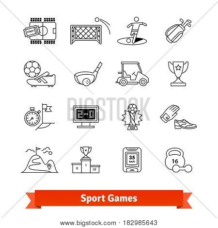 Sport games and Award thin line art icons set. Football, golf, fitness activities. Linear style symbols isolated on white.