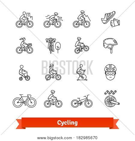 Bicycle riders thin line art icons set. Different types of bikes, cycling accessories, spare parts. Linear style symbols isolated on white.