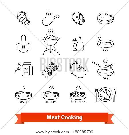 Meat cooking thin line art icons set. Steak house and Barbecue restaurant. Linear style symbols isolated on white.