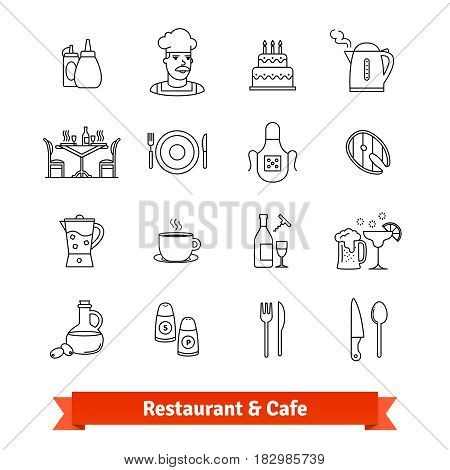 Restaurant and Cafe thin line art icons set. Food cooking, serving dishes, kitchen utensil. Linear style symbols isolated on white.