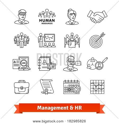 Management and Human resources. Thin line art icons set. Consulting, team work, office people. Linear style symbols isolated on white.