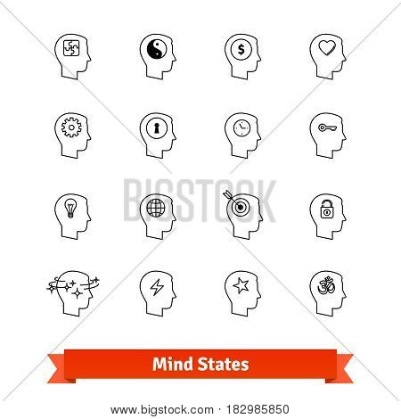 Mind states thin line art icons set. People avatars with various emotions, mental attitudes, moods for web, mobile application, user interface, social network. Linear style symbols isolated on white.