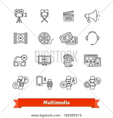 Multimedia thin line art icons set. Entertainment industry, digital television, modern gadget. Linear style symbols isolated on white.