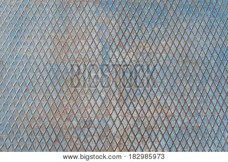 the texture of the iron surface painted in blue