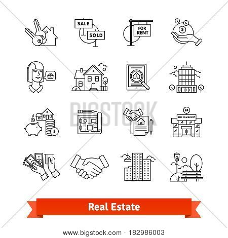 Real estate thin line art icons set. Residential and commercial building deals. Linear style symbols isolated on white.