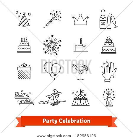 Party thin line art icons set. Festive and entertainment events, celebration, festivities. Linear style symbols isolated on white.