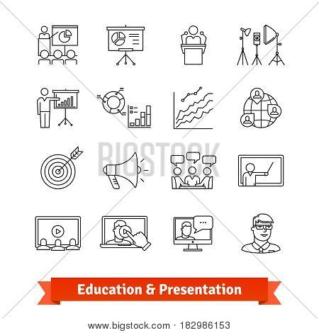Online education and Academic presentation. Thin line art icons set. E-learning, office training, coaching. Linear style symbols isolated on white.