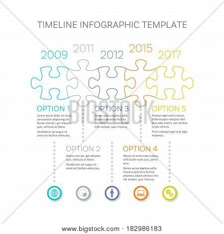 Modern timeline infographic vector design outline puzzle pieces