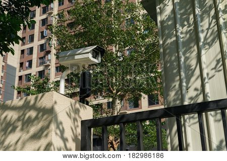 CCTV camera in front of a residential building
