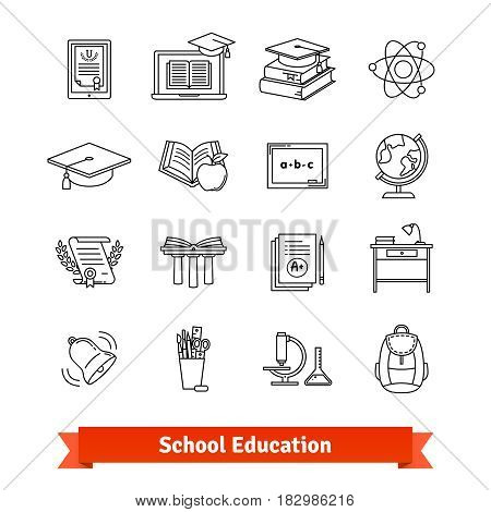 University and school academic education signs set. Thin line art icons. Flat style illustrations isolated on white.