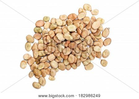 Dried broad beans piled up on a white background horizontal photo