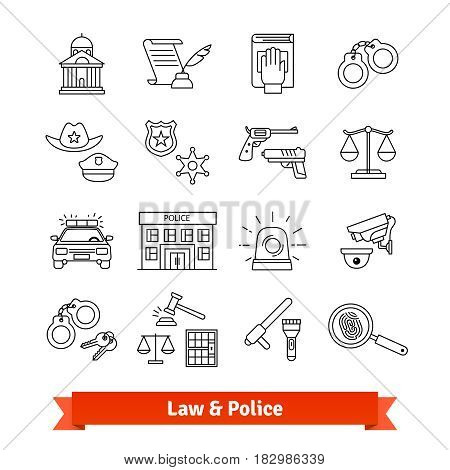 Legal, law, court and police icons thin line set. Linear style illustrations isolated on white.