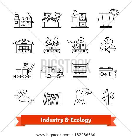 Industry and Ecology thin line art icons set. Production lines, logistics and various types of power stations. Linear style symbols isolated on white.