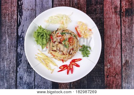 Thai Food, Fried Jasmine Rice With Ginger.