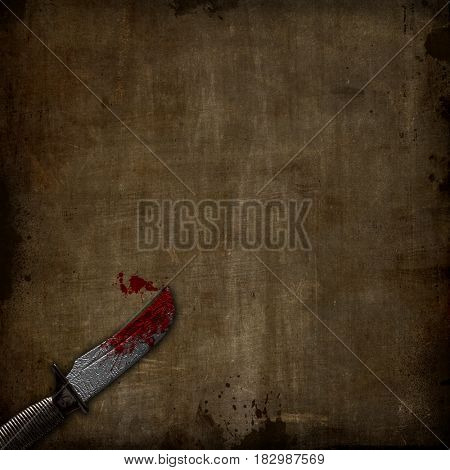 3D render of a bloody dagger on a grunge background