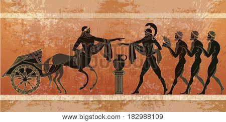 Ancient Greece scene. Black figure pottery. Ancient Greek mythology. Gods of an Olymp Classical Ancient Greek style