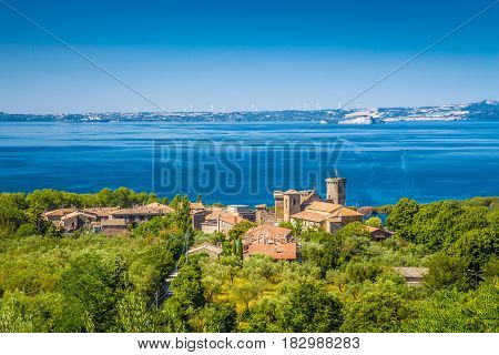 Panoramic View Of Lake Bolsena, Province Of Viterbo, Lazio, Italy
