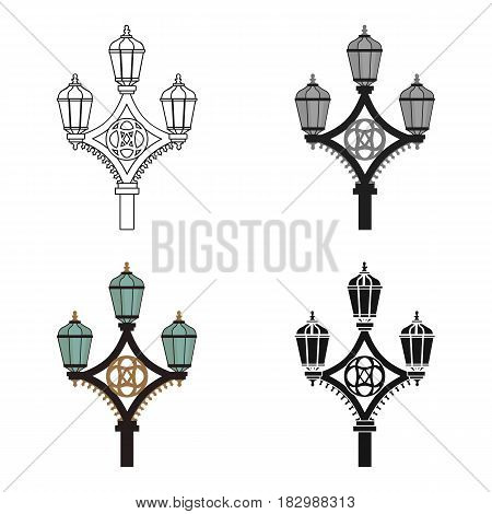 Street light icon in cartoon style isolated on white background. England country symbol vector illustration.
