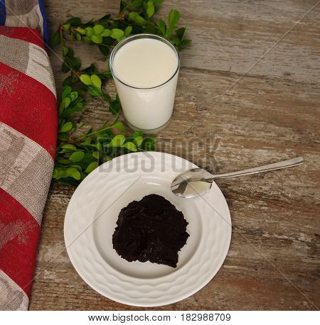 Traditional finnish and Swedish Easter food - pudding mammi rye pudding with milk