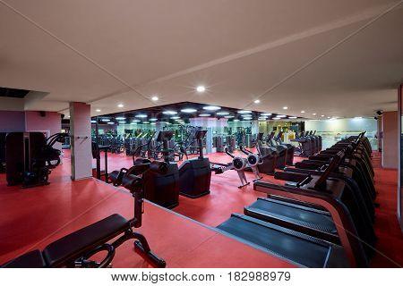 Sports simulators equipment in interior of the gym.