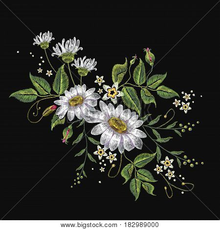Camomiles embroidery vector. Beautiful white сamomiles spring flowers on black background. Template for clothes textiles t-shirt design