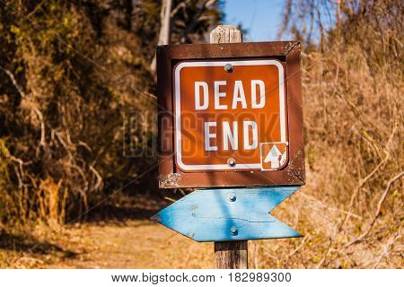 Dead end sign and blank blue sign along path