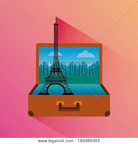 suitcase with eiffel tower icon inside over pink background. travel and tourism design. vector illustraiton