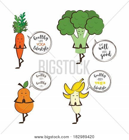 Set of cute fruits and vegetables doing yoga with motivation quotes. vector illustration