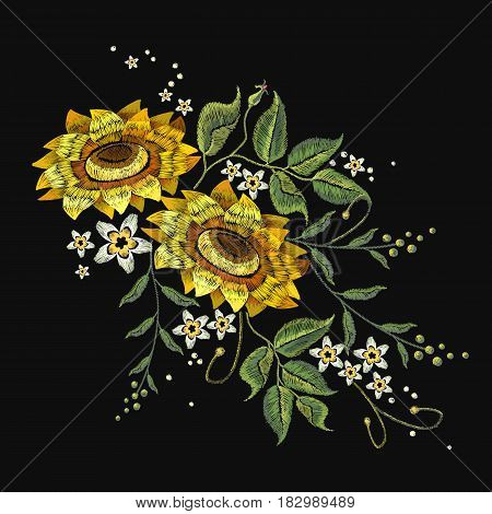 Embroidery sunflowers flowers vector. Beautiful bouquet sunflowers embroidery template for clothes