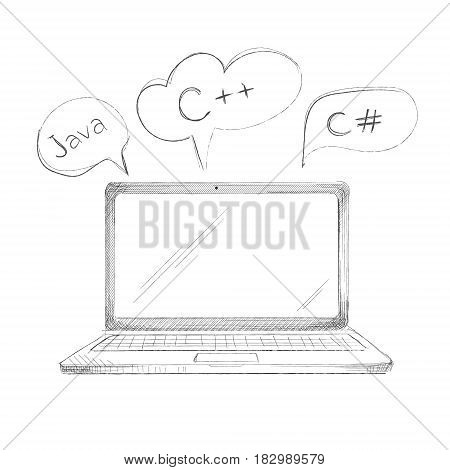 Hand drawn programming language concept laptop java c plus plus c sharp