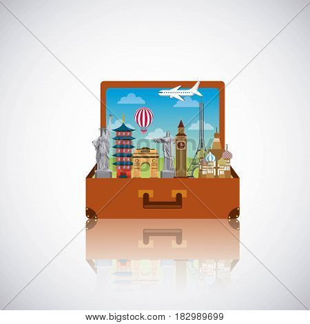 suitcase with iconics monuments of the world inside over white background. travel and tourism design. vector illustraiton