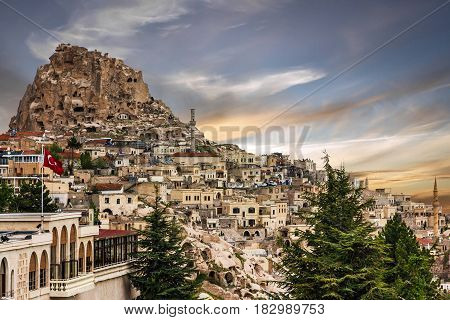 Turkish fortress Uchisar, landscape in Cappadocia, Turkey